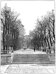 The terrace at the water's edge, vintage engraving.
