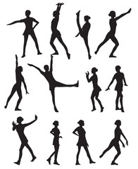 Silhouette of a Dancing Woman Vector Illustration