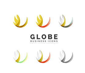 Set of globe sphere or circle logo business icons