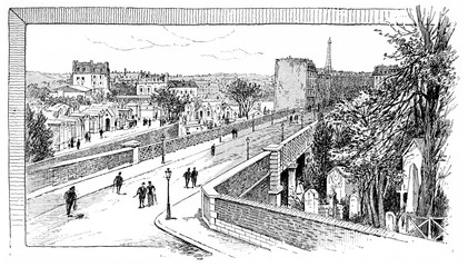Caulaincourt the bridge over the Montmartre cemetery, vintage en
