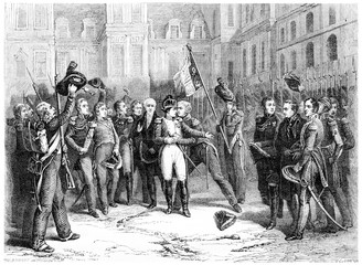 Farewell at Fontainebleau, vintage engraving.
