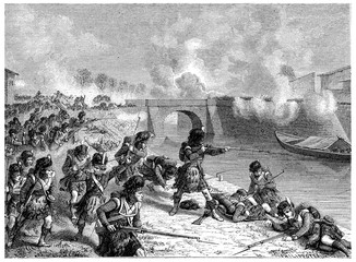 Battle of Toulouse, vintage engraving.