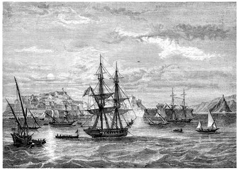 Departing from Elba, vintage engraving.