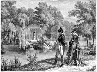 Last residence of Napoleon at Malmaison, vintage engraving.