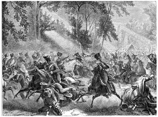 Fight Rocquencourt, vintage engraving.