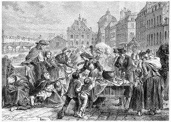 Distribution of food to the starving peasants, vintage engraving
