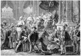 Coronation of Charles X, vintage engraving.