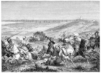 Landing of the French army in Sidi Fredj, vintage engraving.