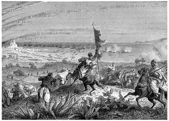 Battle of Staoueli, vintage engraving.