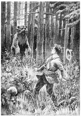 At twenty paces, stood a huge bear, vintage engraving.