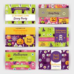 Halloween Vector Party Template Invitation Modern Flat Set