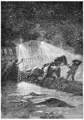 The storm raged with more fury, vintage engraving.