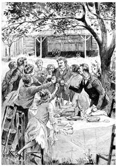 They came to see them every year, vintage engraving.