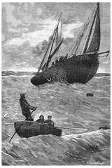 Herring fishing. Lip of the net, vintage engraving.