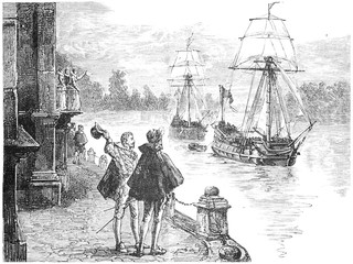 The expedition Frobisher down the Thames, vintage engraving.