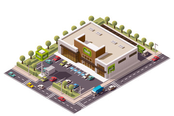 Vector isometric supermarket