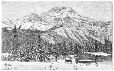 The Rocky Mountains, vintage engraving.