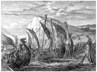 Viking landing, vintage engraving.