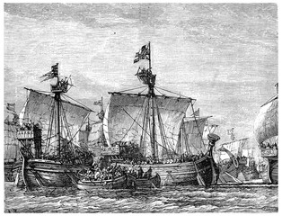 Battle between old English and French fleets, vintage engraving.