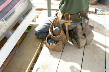 A roof tilers tool belt