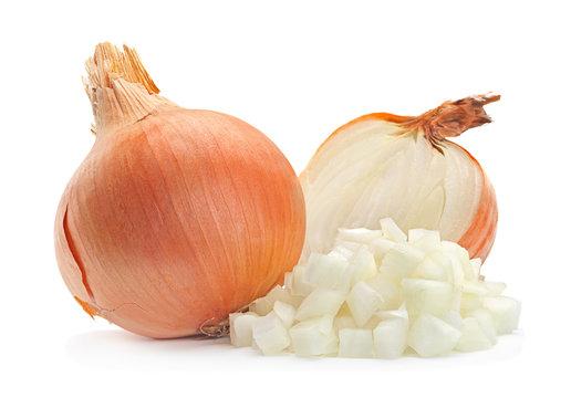 Onion slice on white