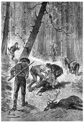 The Yankee had perished in an accident, vintage engraving.