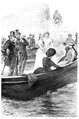 The passengers had recognized Mrs. Branican, vintage engraving.