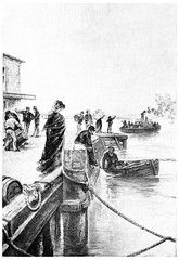 A boat was coming off of the pier, vintage engraving.