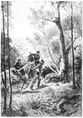 They saw a man lying at the foot of a tree, vintage engraving.