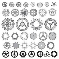 Steampunk collection machine gear, wheel cogwheel vector, set of