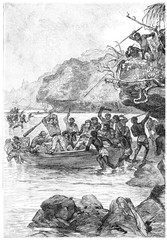 Captain John was attacked by the natives, vintage engraving.
