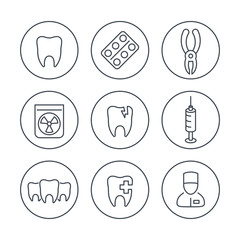 Tooth, dental care, dental pliers, dentist, teeth line icons in circles, vector illustration