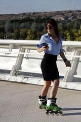 woman skating backwards