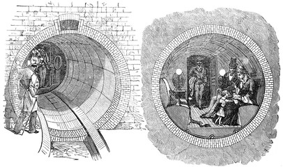 View of a tire being tried in New York, vintage engraving.