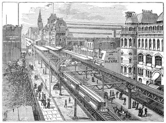 View of the Metropolitan Railway of New York, vintage engraving.