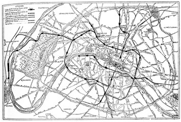Map of Paris metropolitan railway project, vintage engraving.