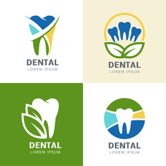 Set of vector logo icons design. Multicolor tooth and green leav