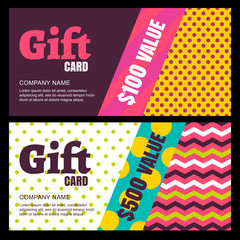Vector design template of gift card or voucher. Color blocks bac