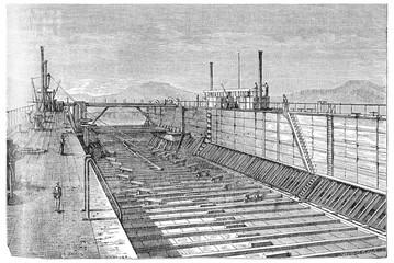 Floating dock of the Viceroy of Egypt, vintage engraving., vinta