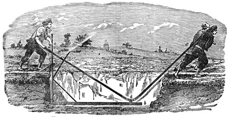 Rabot regularizer the bottom of the trenches, vintage engraving.