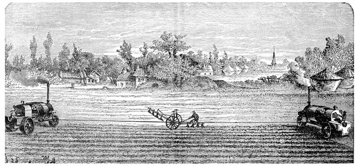 Steam Ploughing, vintage engraving.