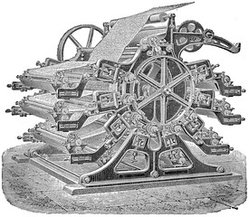 Printing machine wallpaper, vintage engraving.