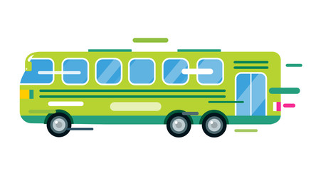 City bus cartoon style vector icon silhouette