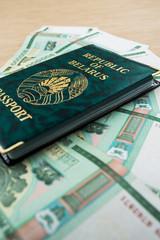 passport of Belarus with rubles