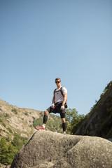 Ultra trail runner portrait in nature