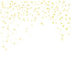 Golden confetti falls isolated onwhite background. Vector illustration.