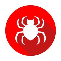 Icono plano redondo araña rojo