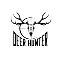 deer skull with target vector design template
