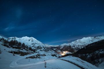La Thuile ski resort at night