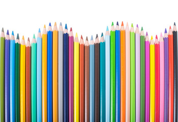 Colour or color pencils, isolated on white background